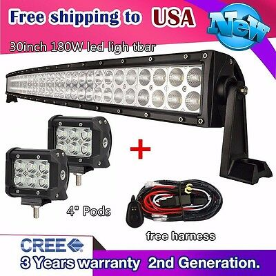 """30 inch 180W LED Light Bar Curved + 2x 4"""" CREE Led Pods Truck ATV Ford Jeep 32/3"""
