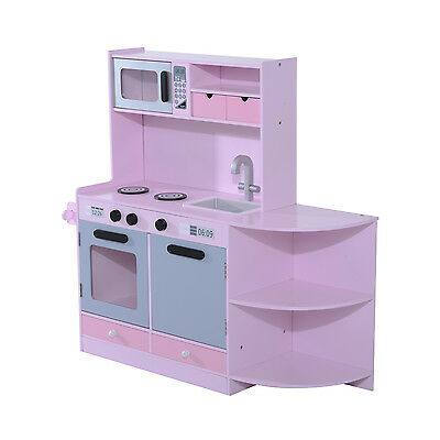 Homcom Kids Toy Cooking Role Pretend Play Children's Large Deluxe Wooden Kitchen