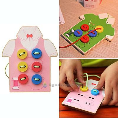 Toddler Kids Montessori Educational Toy Children Beads Lacing Board Wooden Toys