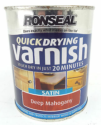 Ronseal Quick Drying Wood Varnish 750ml - Satin - Multiple Colours (C9)