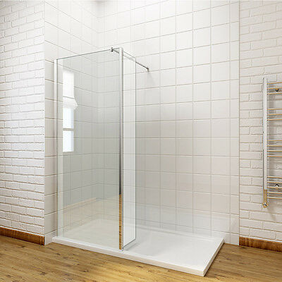 Walk In Wet Room Shower Enclosure and Tray Cubicle Glass Screen Flipper Panel