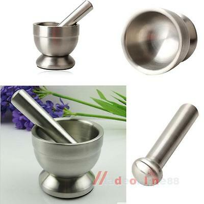 Mortar and Pestle Stainless Steel Pedestal Bowl Garlic Pugging Pot Kitchen Tools