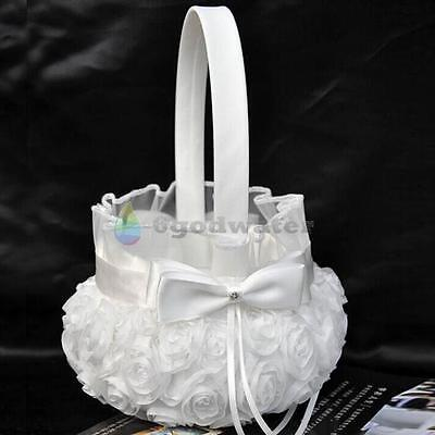 Romantic Bowknot Satin Wedding Ceremony Party Rose Flower Girl Basket Pure White