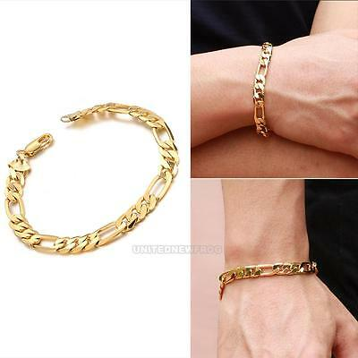 UN3F 18K Yellow Gold Filled Womens Mens Bracelet Curb Chain Link Bangle Jewelry