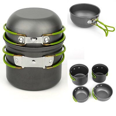 Portable Outdoor Cooking Set Aluminum Pot Pan Cookware Camping Picnic Hiking YM