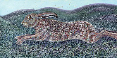 UK Wildlife Artist Ann Richmond Original Work on Canvas: Running Hare #3