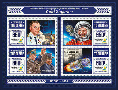 Togo 2016 MNH Yuri Gagarin First Man in Space 4v M/S Vostok 1 Krouchtchev Stamps
