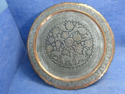 Big Antique Copper Hand Hammered Tray Wall Decor