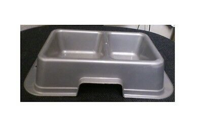 Twin Rectangular Plastic Puppy Dog Cat  Pet Feeding Bowl Water Bowl Silver New