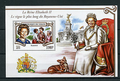Niger 2015 MNH Queen Elizabeth II Longest Reigning Monarch 1v S/S Dogs Stamps