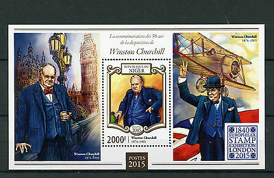 Niger 2015 MNH Winston Churchill 50th Europhilex 1v S/S Big Ben Aviation Stamps