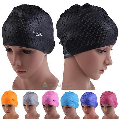 Adults Waterproof Silicone Stretch Swim Long Hair Cap Waterdrop Cover Flexible