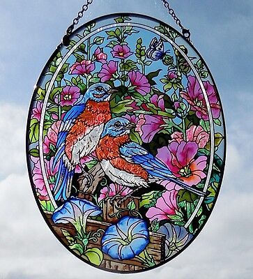 AMIA Stained-Glass Look Bluebirds & Hollyhock Flowers Suncatcher - Hand Painted
