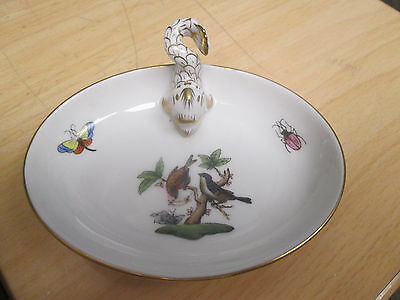 HEREND Rothschild Bird  Small Oval Dish with Gold painted dolphin