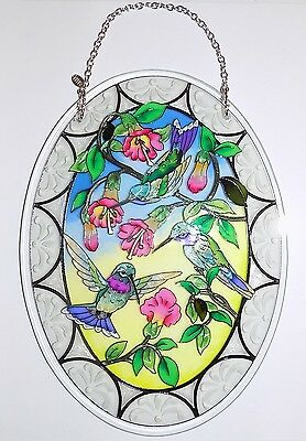 "AMIA Stained-Glass Look ""Hummingbird & Fuchsia"" Suncatcher - Hand Painted  - NEW"