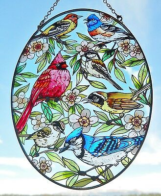"AMIA Stained-Glass Look ""Colorful Birds""  Oval Suncatcher - Hand Painted -  NEW"