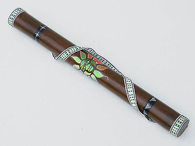 """Bamboo Wooden Ethnic Music Instrument with Image of Inca Sun, Size 24"""""""
