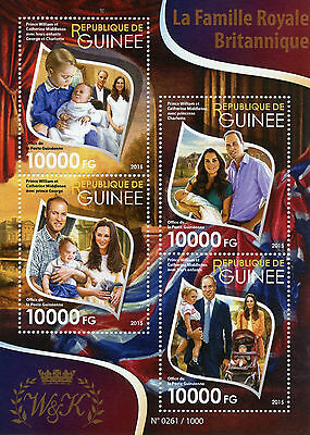 Guinea 2015 MNH British Royal Family Prince William Kate 4v M/S Charlotte Stamps
