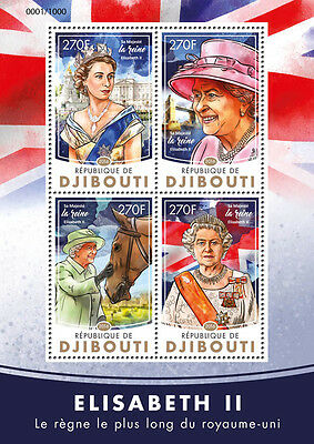 Djibouti 2016 MNH Queen Elizabeth II Longest Reigning Monarch 4v M/S Stamps