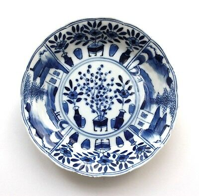 Antique blue and white Saucer shaped Bowl Kangxi-Four-Character-Mark (1662-1722)
