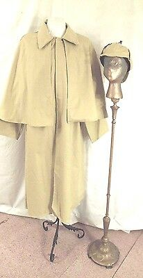 Victorian Steampunk Beige Inverness Costume Coat with Attached Cape and Cap