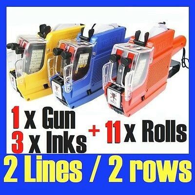 Price Pricing Gun Labeller 2 Lines 10 Digits + 11x Label Rolls & 3 Inks