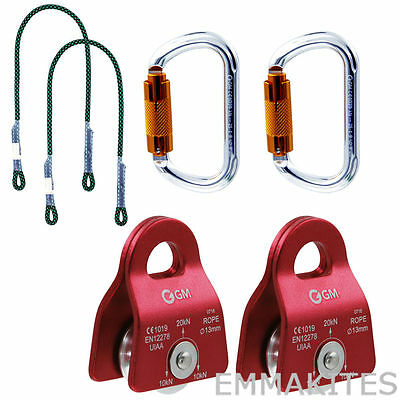 2Pcs 20kN Micro Pulleys with Carabiners and Prusik for Climbing Rescue Hauling
