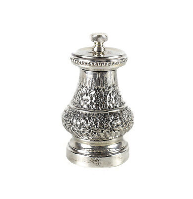 Italian 800 Silver Pepper Mill Grinder. Beaded Rim w/ Hand Chased Florals