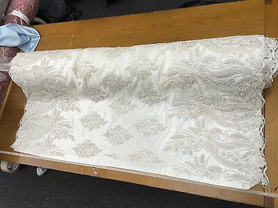 50 in w Hand beaded French lace Off white Fabric by the yard