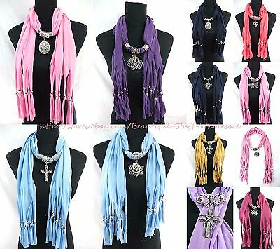 US SELLER-lot of 10 floral fashion pendant scarf necklace Wholesale Scarves USA