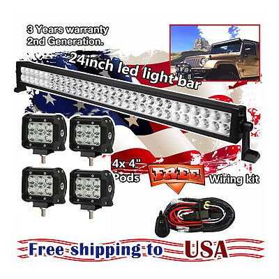 "24inch LED Work Light Bar + 4"" CREE Led Pods ATV SUV UTE Truck Jeep Ford Offroad"