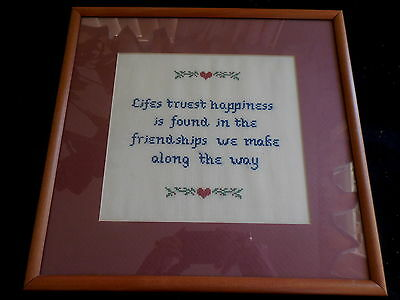 Cross Stitch Completed And Framed Saying Friendships