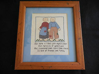 Cross Stitch Completed And Framed Saying Friends And Family
