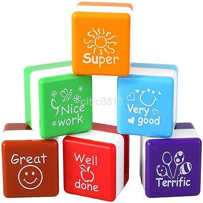 6pcs Teachers Self Inking Stamper Signet Praise Reward Stamps Stickers Kids Toys