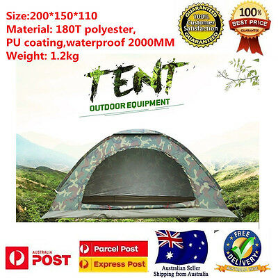 2 Person Instant Pop Up Large Camping Tent Waterproof Outdoor Hiking Tents Gear