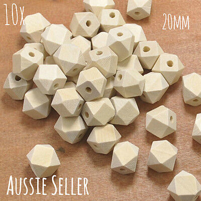 10x natural wood 20mm hexagon beads geometric sensory necklace teething raw
