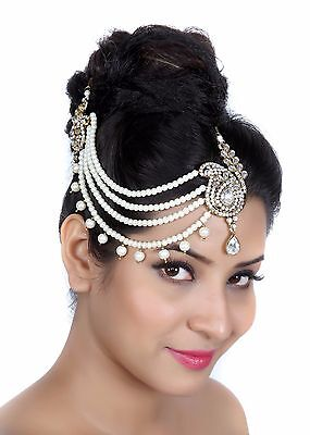Fashion trend Designer 4 Line Matha Patti For Wedding Gold Finishing with Pearl