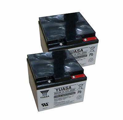 Pair of 12V Yuasa 26Ah Mobility Scooter Batteries