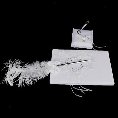 Wedding Heart White Reception Guest Book Feather Bowknot Pen and Stand Set