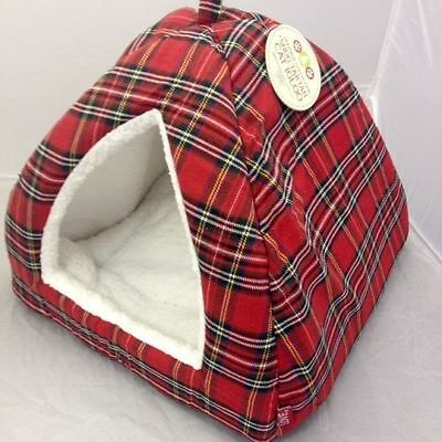 Happy Pet Festive Tartan Igloo Cat Bed - Green Or Red