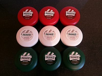 Proraso Italian shaving cream soap X9 RED or GREEN or WHITE or 3 of each 150ml