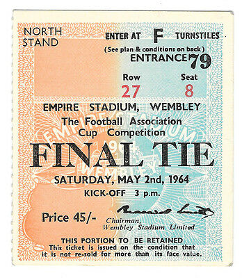 1964 - Preston North End v West Ham United, FA Cup Final Match Ticket.