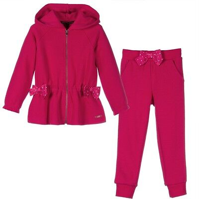 Lili Gaufrette Baby Fuchsia Pink Bow Tracksuit Outfit 3 Years