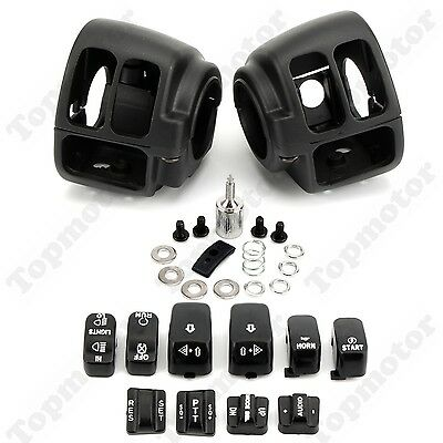 Black Handlebar Switch Housing Cover +10 Caps For Harley Dyna Wide Glide FXST