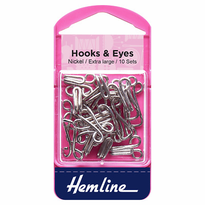 Hemline Hooks and Eyes Nickel Size 9
