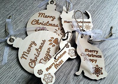 Wooden Christmas personalised pet decoration dog cat tree ornaments bauble paw