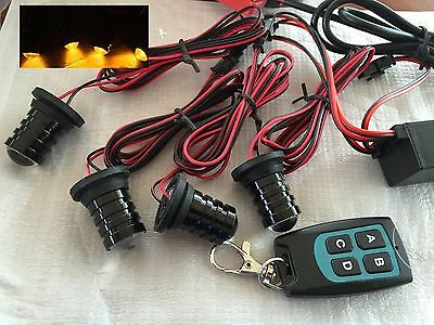 12v Recovery Truck 4WD SUV Grille Strobe Flashing Amber LED Warning Lights