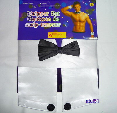 Male Stripper Set Bow Tie Collar and Cuffs Waiter Costume Set Hen Night NEW