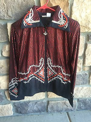Used JC Apparel Red with Silver Western Show Shirt