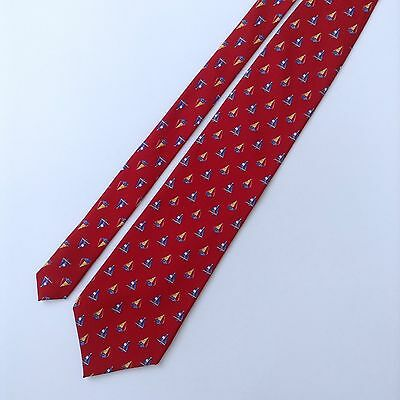 Tango Sailboat Patterned Mens Neck Tie Silk Red